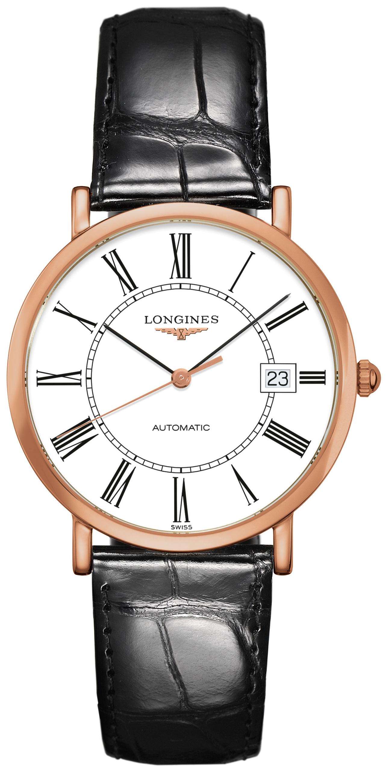 Longines Elegant Herreklokke L4.787.8.11.4 Hvit/Lær Ø37 mm - Longines