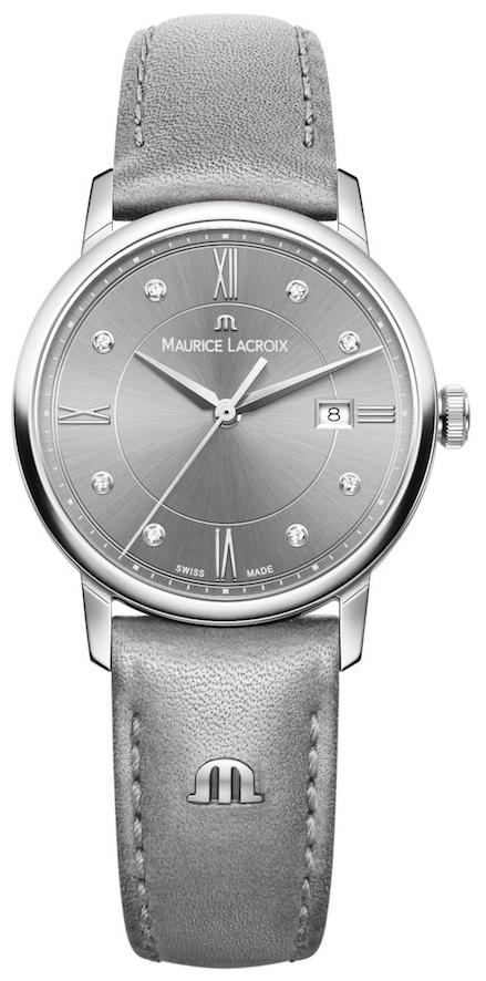 Maurice Lacroix Eliros Dameklokke EL1094-SS001-250-1 Grå/Lær Ø30 mm - Maurice Lacroix