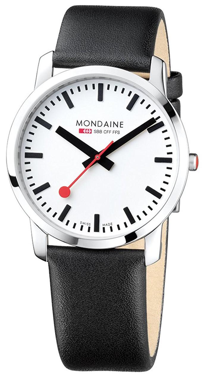 Mondaine Simply Elegant Herreklokke A638.30350.11SBB Hvit/Lær Ø41 mm - Mondaine