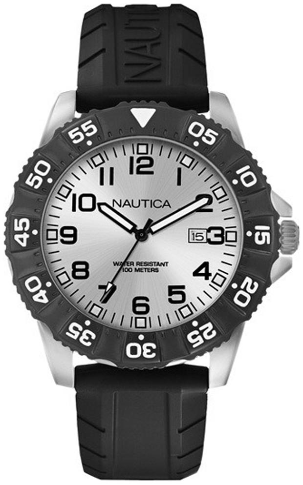 Nautica Analog Herreklokke A12650G Sølvfarget/Gummi Ø45 mm - Nautica