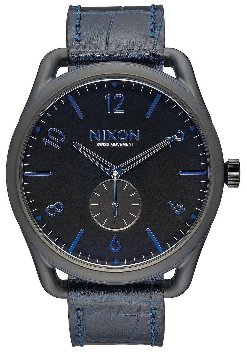 Nixon 99999 Herreklokke A4652153-00 Sort/Lær Ø45 mm - Nixon