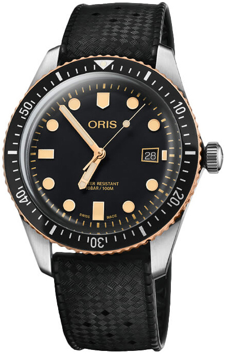 Oris Diving Herreklokke 01 733 7720 4354-07 4 21 18 Sort/Gummi Ø40 mm - Oris