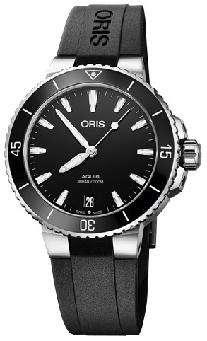 Oris Diving Dameklokke 01 733 7731 4154-07 4 18 64FC Sort/Gummi - Oris