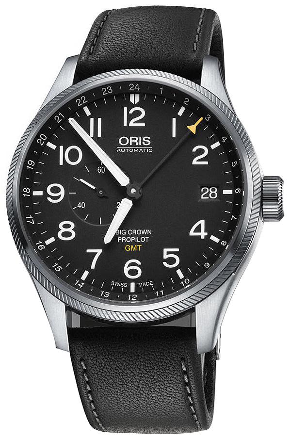 Oris Aviation Herreklokke 01 748 7710 4164-07 5 22 19FC Sort/Lær - Oris