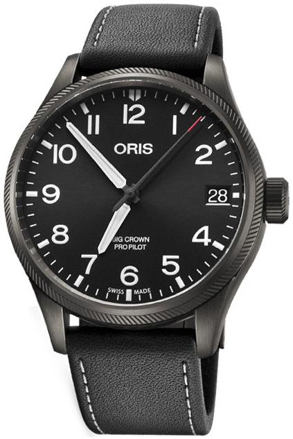 Oris Aviation Herreklokke 01 751 7697 4264-07 5 20 19GFC Sort/Lær - Oris