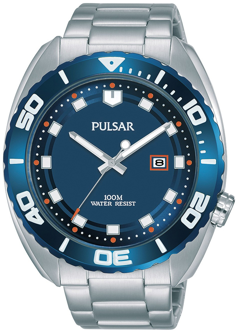 Pulsar Sport Herreklokke PG8281X1 Blå/Stål Ø45 mm - Pulsar