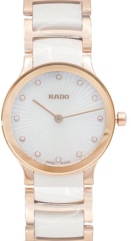 Rado Centrix Dameklokke R30186912 Hvit/Rose-gulltonet stål Ø23 mm - Rado