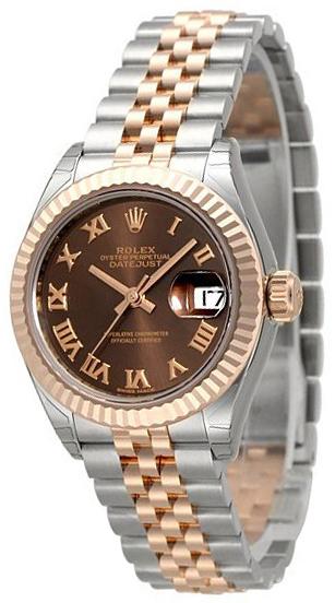 Rolex Lady-Datejust 28 Dameklokke 279171-0009 Brun/18 karat rosé - Rolex