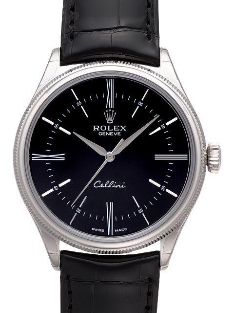 Rolex Cellini Time Herreklokke 50509-0006 Sort/Lær Ø39 mm - Rolex