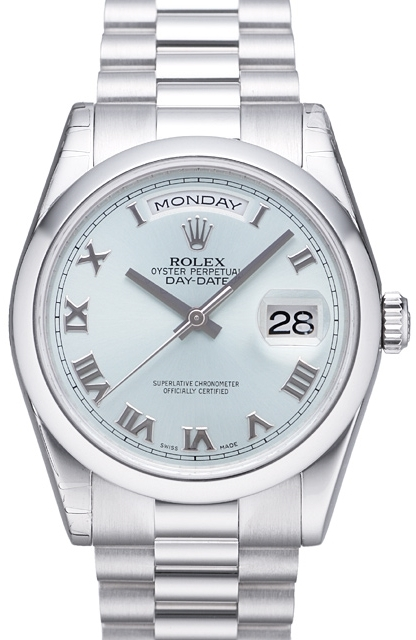 Rolex Day-Date Herreklokke 118206-0035 Sølvfarget/Platina Ø36 mm - Rolex