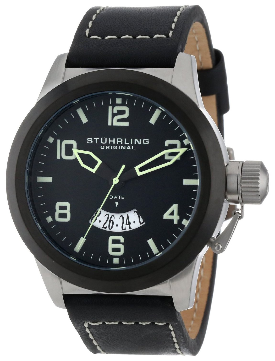 Stührling Original Herreklokke 427.33D51 Sort/Lær Ø48 mm - Stührling Original
