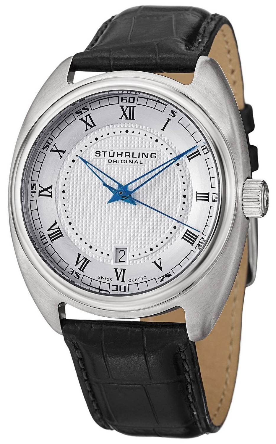 Stührling Original Herreklokke 728.01 Sølvfarget/Lær Ø42 mm - Stührling Original