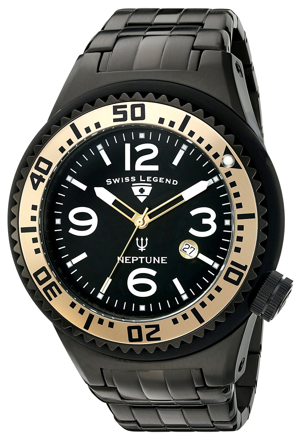 Swiss Legend Neptune Herreklokke SL-21819P-BB-11-GA Sort/Stål Ø52 mm - Swiss Legend