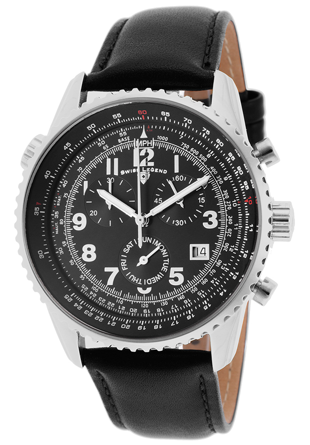 Swiss Legend Skyline Herreklokke SL-30721-01 Sort/Lær Ø42 mm - Swiss Legend