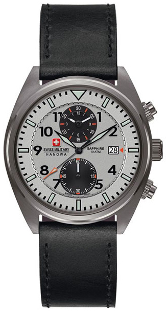 Swiss Military Sport Herreklokke 06-4227.30.009 Grå/Lær Ø43 mm - Swiss Military