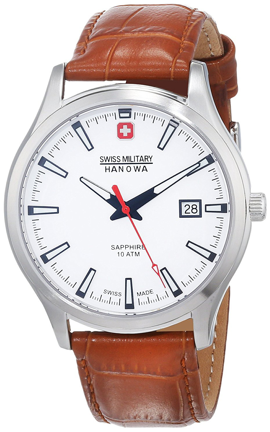 Swiss Military Dress Herreklokke 06-4303.04.001 Hvit/Lær Ø40 mm - Swiss Military