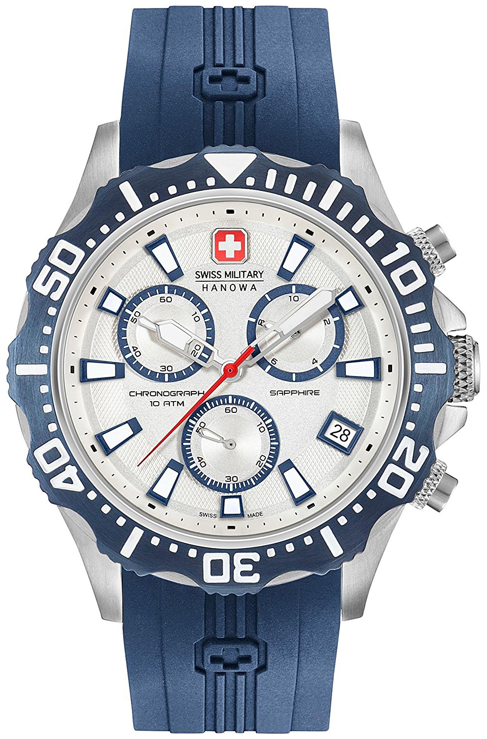 Swiss Military Sport Herreklokke 06-4305.04.001.03 Hvit/Gummi Ø44 mm - Swiss Military