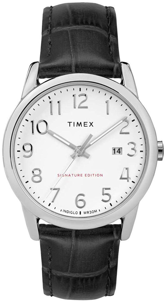 Timex Easy Reader Herreklokke TW2R64900 Hvit/Lær Ø38 mm - Timex