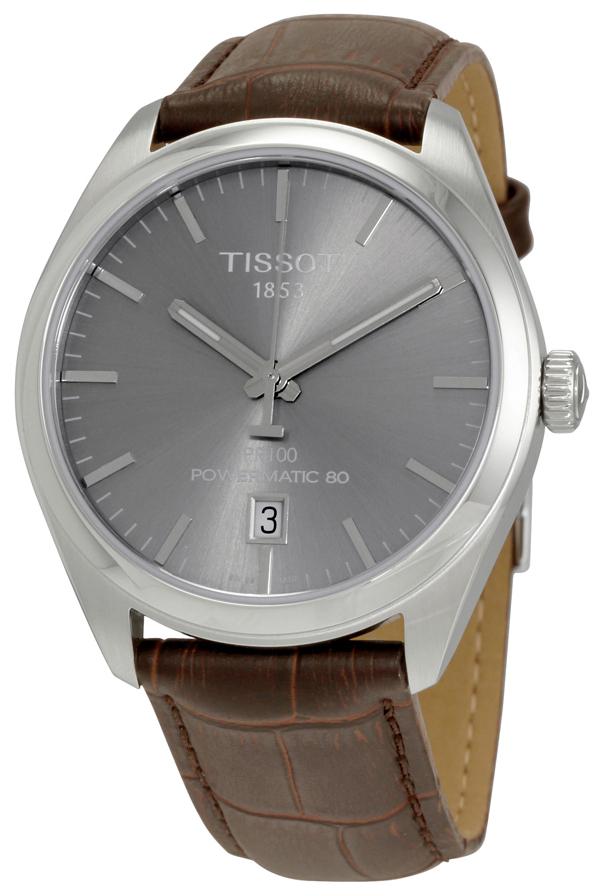 Tissot PR 100 Automatic Gent Herreklokke T101.407.16.071.00 Grå/Lær - Tissot