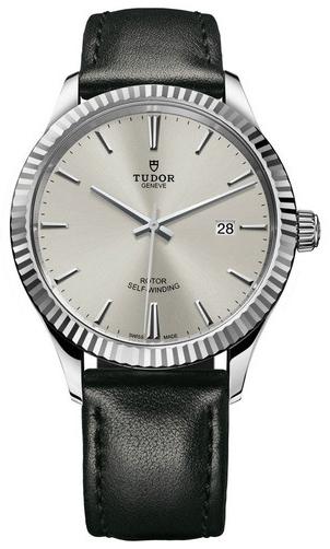 Tudor Style Herreklokke 12710-0021 Sølvfarget/Lær Ø41 mm - Tudor
