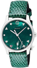 Gucci G-Timeless Grønn/Lær Ø29 mm