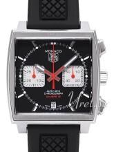 TAG Heuer Monaco Calibre 12 Automatic Chronograph Sort/Gummi 39x39 mm